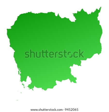 Green gradient Cambodia map. Detailed, Mercator projection.