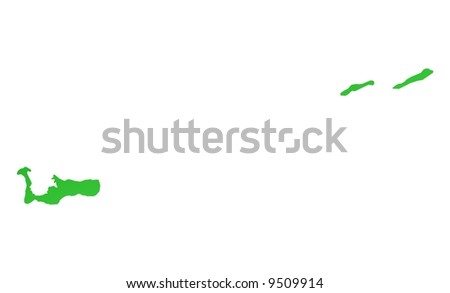 Green gradient Cayman Islands map. Detailed, Mercator projection. - stock photo