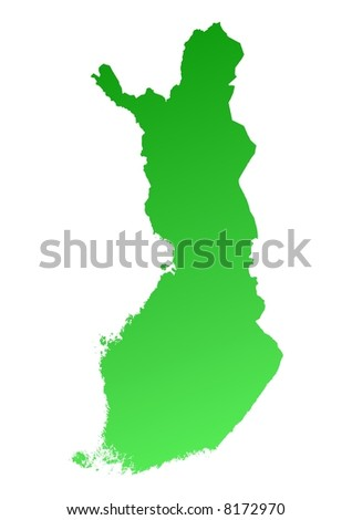 Green gradient Finland map. Detailed, Mercator projection.