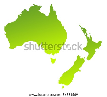 Green gradient map of Australia and New Zealand isolated on a white background. - stock photo