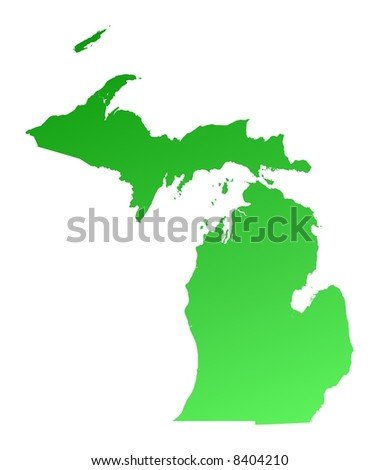 Green gradient Michigan map, USA. Detailed, Mercator projection. - stock photo