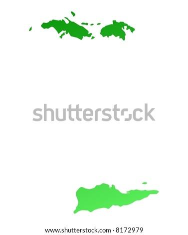 Green gradient Virgin Islands map. Detailed, Mercator projection. - stock photo
