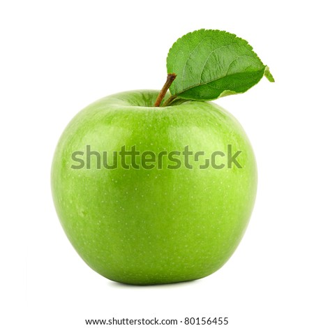 Green granny smith apple on white background