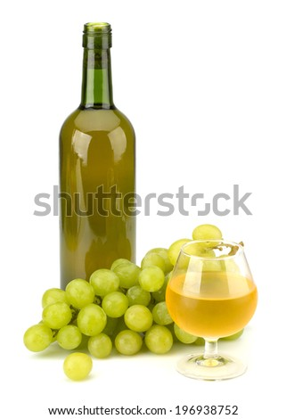 Green grape bunch and wine bottle isolated on white background