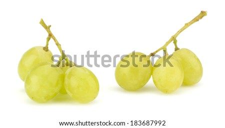 Green grape bunch isolated on white background - stock photo