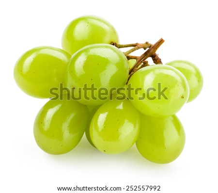 Green grape isolated on white background - stock photo