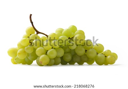Green grapes isolated on white background. - stock photo