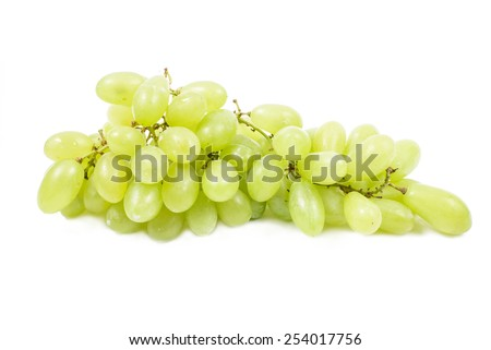 Green grapes, Isolated on white background.