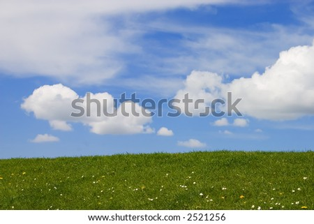 Green grass and blue sky with fluffy white clouds - stock photo