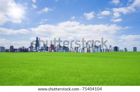 Green grass and  downtown - stock photo
