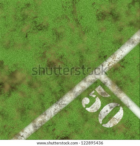 Green grass and 50 yards marker - stock photo