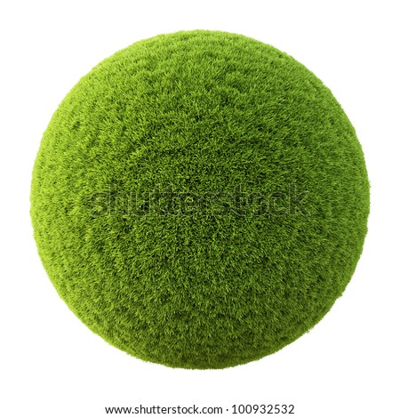 Green grass ball. Isolated on white. - stock photo