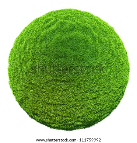 Green grass ball - isolated on white background