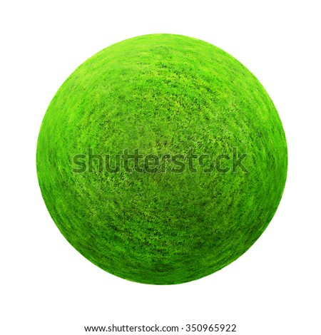 Green grass ball. Isolated on white background