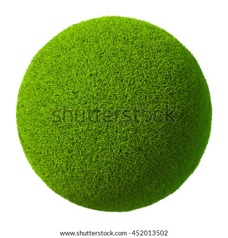 Green grass ball isolated on white background. 3d rendering - stock photo
