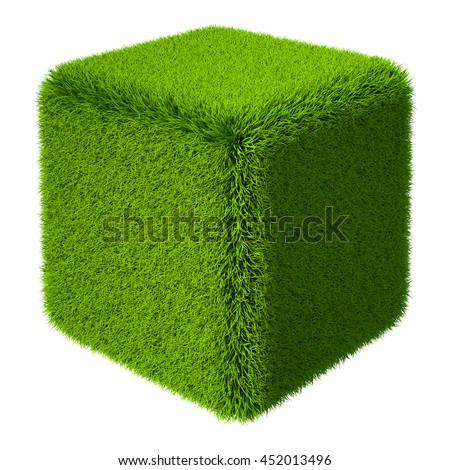 Green grass cube isolated on white background. 3d rendering - stock photo
