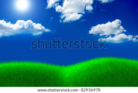 Green grass field and cloud sky with sun - stock photo