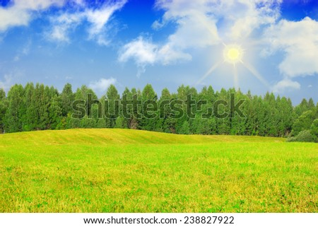 green grass field landscape with fantastic clouds  - stock photo