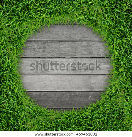 Green grass frame and vintage wood texture background isolated on white.
