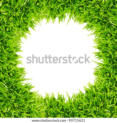 green grass frame isolated on white background - stock photo