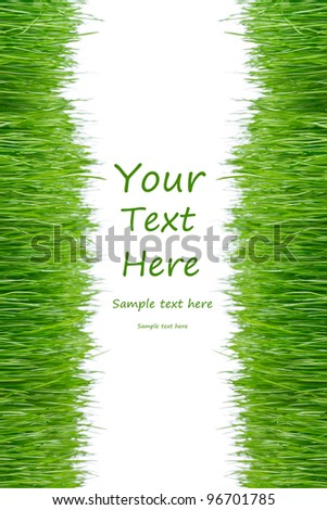 Green grass frame over white background - stock photo