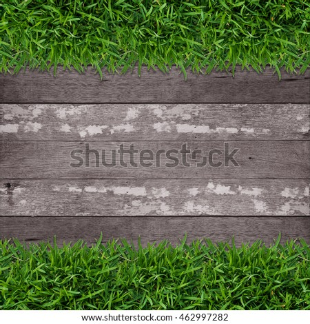 Green grass frame with vintage wooden texture background.