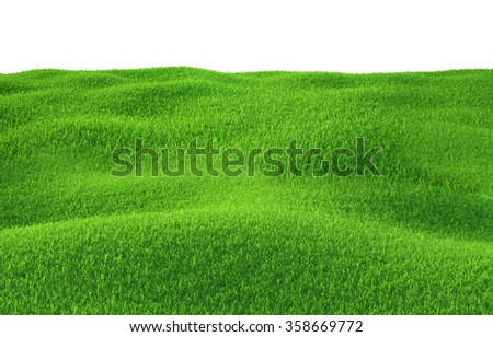 Green grass growing on hills with white background top view - stock photo