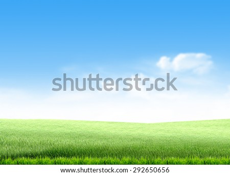 green grass hill, lawn, field, over blue sky white clouds background wallpaper template - stock photo
