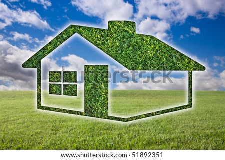 Green Grass House Icon Over Field, Blue Sky and Clouds. - stock photo