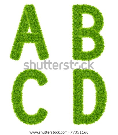 green grass letter abcd isolated