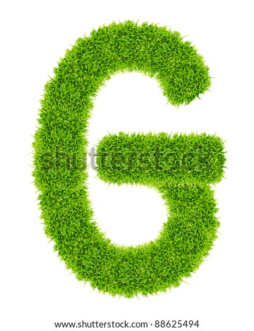 green grass letter G Isolated - stock photo