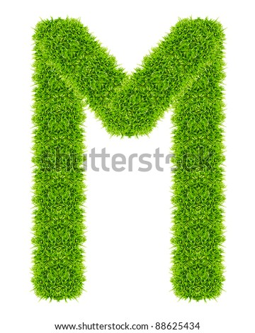 green grass letter M Isolated - stock photo