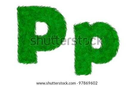 Green grass letter P p isolated on white background