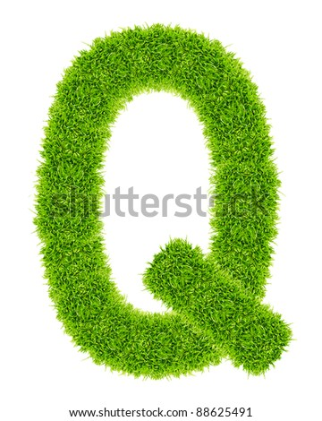 green grass letter Q Isolated - stock photo
