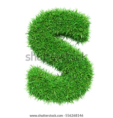 Green Grass Letter S. Isolated On White Background. Font For Your Design. 3D Illustration