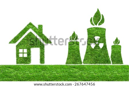 Green grass Nuclear power plant icon isolated on white.  The concept of ecology - stock photo