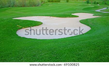 Green grass of thr Golf course - stock photo