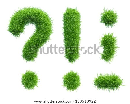 green grass punctuation marks isolated on white background - stock photo
