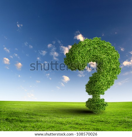 Green grass question mark against blue sky - stock photo