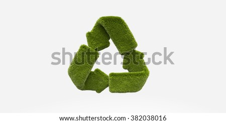 green grass recycle icon background