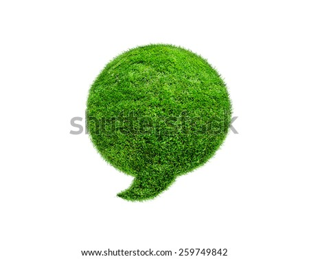 Green grass Speech Bubble, isolated on white background. - stock photo