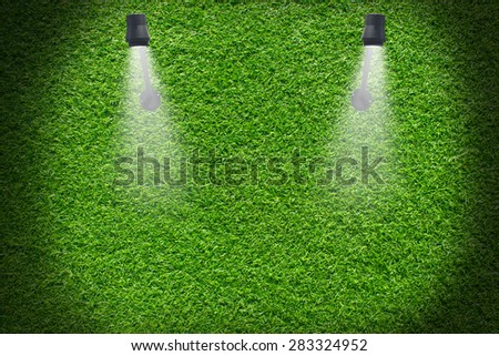 green grass wall  illuminated by wall lamp with copy space,vignette - stock photo