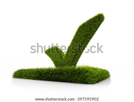 Green grassed check mark symbol in the square on white background - stock photo