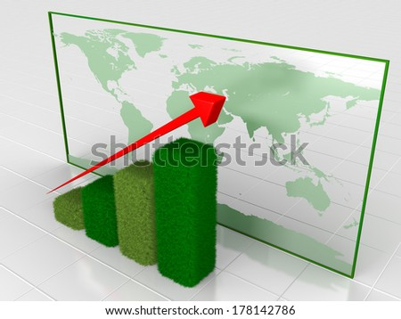 Green grassy growth chart with world map in the background. Elements of this image furnished by NASA.