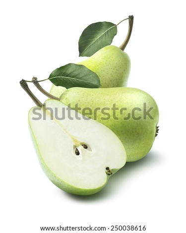 Green group pears leaves composition isolated on white background as package design element - stock photo