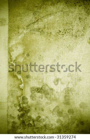Green grunge stained messy book cover - stock photo