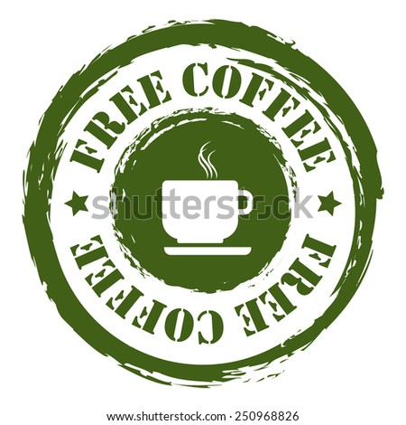 Green Grungy Free Coffee Sticker, Icon or Label Isolated on White Background  - stock photo