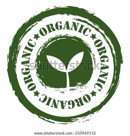 Green Grungy Organic Sticker, Icon or Label Isolated on White Background