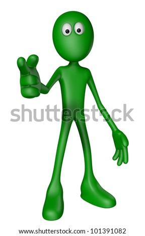 green guy shows someone with his forefinger - 3d illustration
