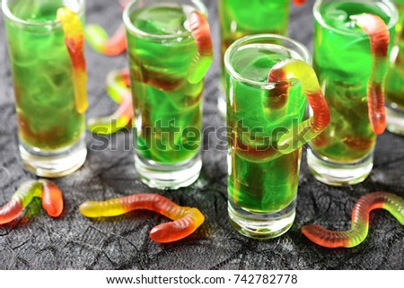 Green Halloween Jello Shots Gummy Worms Stock Photo 742782778 ...